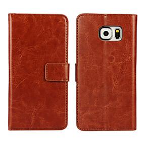 Недорогие Чехлы и кейсы для Galaxy S5 Mini-Кейс для Назначение SSamsung Galaxy S7 edge / S7 / S6 edge Кошелек / Бумажник для карт / со стендом Чехол Однотонный Кожа PU