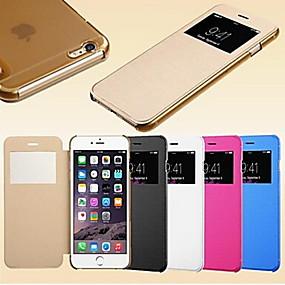levne iPhone pouzdra-Carcasă Pro iPhone 5 / Apple Pouzdro iPhone 5 s okýnkem / Automatické probouzení / Flip Celý kryt Jednobarevné Pevné PU kůže pro iPhone SE / 5s / iPhone 5