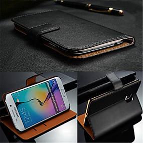 voordelige Galaxy S6 Edge Plus Hoesjes / covers-hoesje Voor Samsung Galaxy S7 edge / S7 / S6 edge plus Kaarthouder / Flip Volledig hoesje Effen aitoa nahkaa