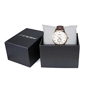 זול שעוני מותגים-SINOBI בגדי ריקוד גברים שעון יד קווארץ עור חום 30 m עמיד במים לוח שנה שעוני ספורט אנלוגי פאר קלסי אריסטו - חום