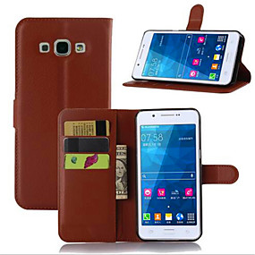 voordelige Galaxy A7(2016) Hoesjes / covers-hoesje Voor Samsung Galaxy A7(2016) / A5(2016) / A3(2016) Kaarthouder / met standaard / Flip Volledig hoesje Effen PU-nahka