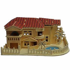 olcso Játékok & hobbi-3D építőjátékok Fából készült építőjátékok Wood Model Ház Fa Fiú Lány Játékok Ajándék