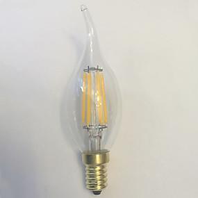 Χαμηλού Κόστους Λαμπτήρες LED με νήμα πυράκτωσης-1pc LED Λάμπες Πυράκτωσης 600 lm E14 C35 6 LED χάντρες COB Αδιάβροχη Διακοσμητικό Θερμό Λευκό 220-240 V / 1 τμχ / RoHs