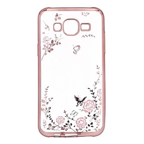 voordelige Galaxy A7(2016) Hoesjes / covers-hoesje Voor Samsung Galaxy A7(2016) / A5(2016) / A3(2016) Strass / Beplating / Transparant Achterkant Bloem TPU