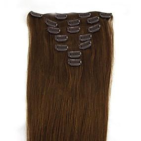 tanie Makijaż i pielęgnacja paznokci-PANSY Clip In Ludzkich włosów rozszerzeniach Prosta Włosy naturalne Doczepy z naturalnych włosów Damskie Średni brąz / Truskawkowy blond