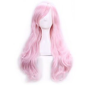 cheap Makeup & Nail Care-70 cm harajuku anime cosplay wigs for party costume women ladies long full wavy curly synthetic hair pink wig Halloween