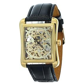 ieftine Bijuterii&Ceasuri-WINNER Bărbați Ceas Schelet Ceas de Mână ceas mecanic Mecanism automat Piele PU Matlasată Negru Gravură scobită Analog Lux - Negru