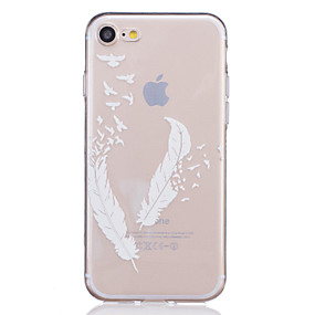 abordables Coques d'iPhone-Coque Pour Apple iPhone X / iPhone 8 / iPhone 7 Transparente / Relief / Motif Coque Plumes Flexible TPU pour iPhone X / iPhone 8 Plus / iPhone 8