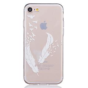 olcso iPhone tokok-Case Kompatibilitás Apple iPhone X / iPhone 8 / iPhone 7 Átlátszó / Dombornyomott / Minta Fekete tok Tollak Puha TPU mert iPhone X / iPhone 8 Plus / iPhone 8