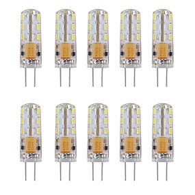 levne LED Bi-pin světla-10pcs 1 W LED Bi-pin světla 460 lm G4 Trubice 24 LED korálky SMD 3014 Ozdobné Teplá bílá Chladná bílá 12 V / 10 ks / RoHs