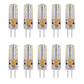 abordables Luces LED de Doble Pin-10pcs 1 W Luces LED de Doble Pin 460 lm G4 Tubo 24 Cuentas LED SMD 3014 Decorativa Blanco Cálido Blanco Fresco 12 V / 10 piezas / Cañas