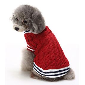 Χαμηλού Κόστους Χριστουγεννιάτικα κοστούμια για κατοικ-Γάτα Σκύλος Πουλόβερ Χριστούγεννα Ρούχα για σκύλους Συνδυασμός Χρωμάτων Κόκκινο Μπλε Βαμβάκι Στολές Για Χειμώνας Ανδρικά Γυναικεία Καθημερινά Διατηρείτε Ζεστό