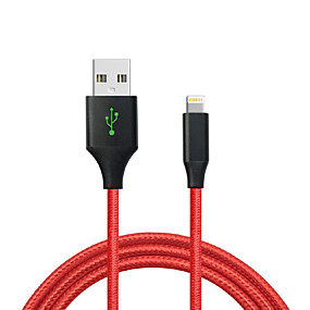 billige CARVE-USB 2.0 / Belysning Kabel 1m-1.99m / 3ft-6ft Flettet Nylon USB-kabeladapter Til iPad / Apple / iPhone