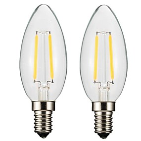 Χαμηλού Κόστους Λαμπτήρες LED με νήμα πυράκτωσης-ONDENN 2pcs 2 W LED Λάμπες Πυράκτωσης 150-200 lm E14 E12 CA35 2 LED χάντρες COB Με ροοστάτη Θερμό Λευκό 220-240 V 110-130 V / 2 τμχ / RoHs / CE
