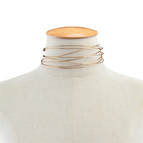 billige Strand Halskæder-Dame Kort halskæde Enlig Snor Damer Personaliseret Mode Euro-Amerikansk Plastik Guld Halskæder Smykker Til Daglig Afslappet