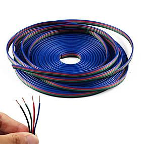 Недорогие Коннекторы-kwb 20m 4-контактный кабель удлинительного кабеля rgb для 5050 3528 цветной гибкий светодиодный фонарик