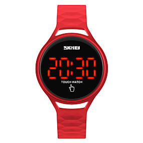 cheap Kids' Watches-SKMEI Sport Watch Wrist Watch Digital Watch Japanese Digital Silicone Black / Blue / Red 30 m Water Resistant / Waterproof Cool Digital Ladies Fashion - Dark Blue Yellow Red Two Years Battery Life