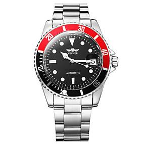 voordelige Merk Horloge-WINNER Heren Dress horloge Polshorloge mechanische horloges Automatisch opwindmechanisme Roestvrij staal Zilver Kalender Lichtgevend Analoog Luxe Gunmetal Watch - Wit Zwart