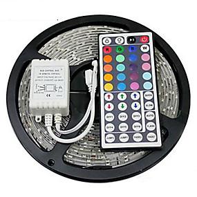 billige LED-stripelys-zdm 5m vanntett 300 x 2835 rgb led strips lett fleksibel og ir 44key fjernbetjening linkbar selvklebende fargeskiftende