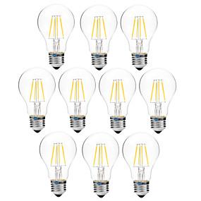 Χαμηλού Κόστους Λαμπτήρες LED με νήμα πυράκτωσης-BRELONG® 10pcs 4 W LED Λάμπες Πυράκτωσης 300 lm E27 A60(A19) 4 LED χάντρες COB Με ροοστάτη Θερμό Λευκό Άσπρο 200-240 V / 10 τμχ