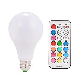 levne LED Smart žárovky-1ks 9 W LED chytré žárovky 600 lm E26 / E27 A80 38 LED korálky Integrovaná LED Dálkové ovládání Ozdobné Zářící barvy Teplá bílá RGBWW 85-265 V / 1 ks / RoHs
