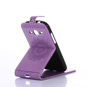 voordelige Galaxy Ace 4 Hoesjes / covers-hoesje Voor Samsung Galaxy Core Prime / Ace 4 Kaarthouder / met standaard / Flip Volledig hoesje Effen Hard PU-nahka