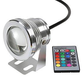 Недорогие LED прожекторы-hkv® привело подводный свет dimmable rgb 10w 12v привело подводный свет 16 цветов 1000lm водонепроницаемый ip67 фонтан бассейн освещение лампы