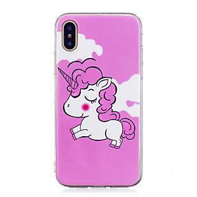 olcso iPhone tokok-Case Kompatibilitás Apple iPhone X / iPhone 8 Plus Foszforeszkáló / IMD / Minta Fekete tok Egyszarvú Puha TPU mert iPhone X / iPhone 8 Plus / iPhone 8