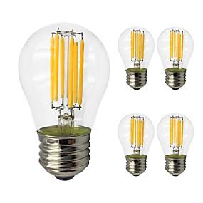 abordables Lámparas LED de Filamentos-5pcs 6 W Bombillas de Filamento LED 560 lm E27 G45 6 Cuentas LED COB Luz LED Bombilla Edison Blanco Cálido Blanco Fresco 220-240 V / Cañas