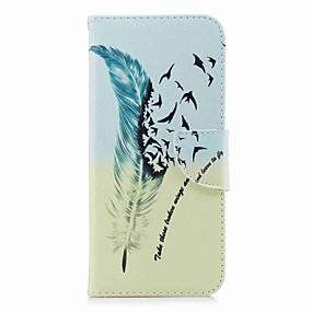 voordelige Galaxy S6 Edge Plus Hoesjes / covers-hoesje Voor Samsung Galaxy S9 / S9 Plus / S8 Plus Portemonnee / Kaarthouder / met standaard Volledig hoesje Veren Hard PU-nahka