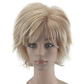 cheap Wigs & Hair Pieces-Synthetic Wig Curly Style Layered Haircut Capless Wig Blonde Beige Blonde Synthetic Hair Women's Natural Hairline Blonde Wig Short hairjoy Natural Wigs