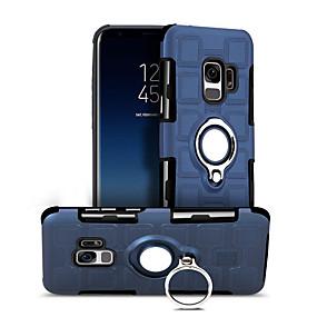 halpa Galaxy S -sarjan kotelot / kuoret-Etui Käyttötarkoitus Samsung Galaxy S9 Iskunkestävä / Sormuksen pidike / 360° kierto Takakuori Yhtenäinen väri Kova PC varten S9