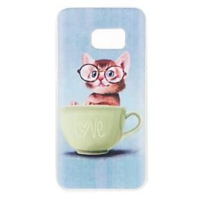 voordelige Galaxy S7 Hoesjes / covers-hoesje Voor Samsung Galaxy S8 Plus / S8 / S7 edge Patroon Achterkant Kat Zacht TPU