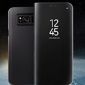 voordelige Galaxy S6 Edge Plus Hoesjes / covers-hoesje Voor Samsung Galaxy S8 Plus / S8 / S7 edge met standaard / Spiegel / Flip Volledig hoesje Effen Hard PU-nahka