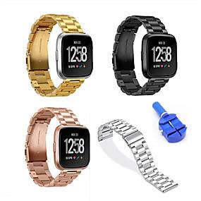 economico Cinturini per Fitbit-Cinturino per orologio  per Fitbit Versa Fitbit fibbia a farfalla Acciaio inossidabile Custodia con cinturino a strappo