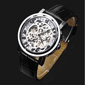voordelige Merk Horloge-ASJ Heren Skeleton horloge Polshorloge mechanische horloges Automatisch opwindmechanisme Leer Zwart Hol Gegraveerd Analoog Luxe Modieus - Zilver