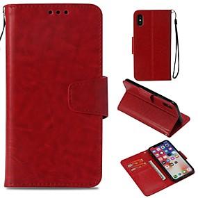 Недорогие Кейсы для iPhone 5S/SE-Кейс для Назначение Apple iPhone X / iPhone 8 / iPhone XS Кошелек / Бумажник для карт / Магнитный Чехол Однотонный Твердый Кожа PU для iPhone XS / iPhone XR / iPhone XS Max