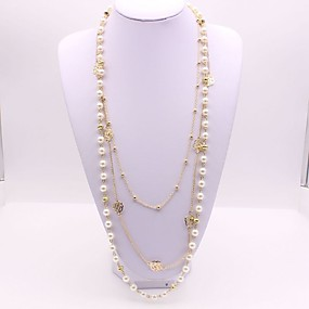 112745d6b5d5 abordables Collares a Capas-Mujer Largo Doble Collares en capas collar  largo Perla Artificial Flor