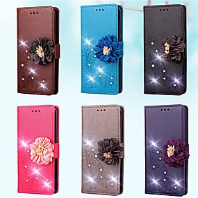 voordelige Galaxy A5(2016) Hoesjes / covers-hoesje Voor Samsung Galaxy A7(2016) / A5(2016) / A3(2016) Portemonnee / Kaarthouder / Strass Volledig hoesje Effen / Bloem Hard PU-nahka