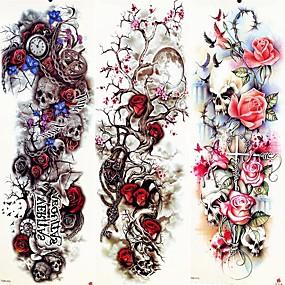 tanie Tatuaże tymczasowe-3 pcs Tatuaże tymczasowe Naklejka gładka / Przyjazne dla środowiska / Jednorazowy Ramię / Noga Papier Karty / Tatuaże tymczasowe w stylu kalkomanii