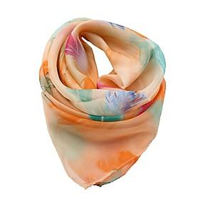 billige Tørklæder og sjaler-Dame Ferie Kvadratisk tørklæde - Chiffon Sløjfer, Blomstret / Alle årstider