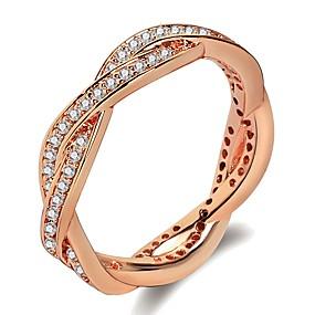 tanie 10% TANIEJ i więcej-Damskie Elegancki Lasso Obrączka Pierścień Powłoka platynowa Pokryte różowym złotem Imitacja diamentu Pączki Fala damska Modny Moda Modne pierścionki Biżuteria Srebrny / Różowe złoto Na Ślub