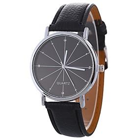 Недорогие Фирменные часы-Xu™ Муж. Жен. Нарядные часы Наручные часы Кварцевый Стеганная ПУ кожа Черный / Белый / Синий Творчество Повседневные часы Крупный циферблат Аналоговый Дамы Классика На каждый день Мода -  / Один год