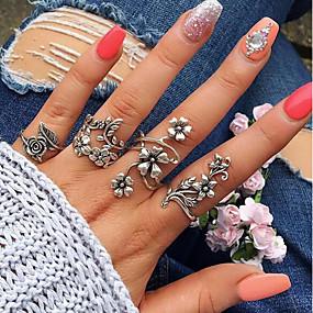billige Sterling Sølv-Dame Vintage Stil Manchet ring Ring Set tommelfingerring Legering Bladformet Blomst Damer Usædvanlige Unikt design Vintage Bohemisk Moderinge Smykker Sølv Til Bryllup Daglig Maskerade Forlovelsesfest