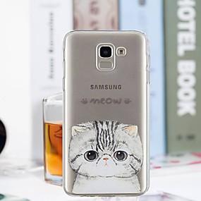 voordelige Galaxy J3 Hoesjes / covers-hoesje Voor Samsung Galaxy J7 (2017) / J6 / J5 (2017) Transparant / Patroon Achterkant Kat Zacht TPU