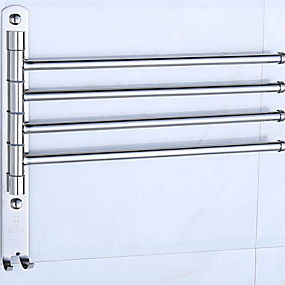 cheap Bathroom Gadgets-Towel Bar Creative Contemporary Stainless Steel / Iron 1pc 4-towel bar Wall Mounted