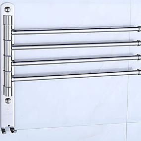billige Tilbehør til badeværelset-Håndklestang Kreativ Moderne Rustfrit stål / jern 1pc 4-håndkle bar Vægmonteret