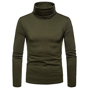 billige Topsællerter-Rullekrage T-skjorte Herre - Ensfarget Navyblå L / Langermet