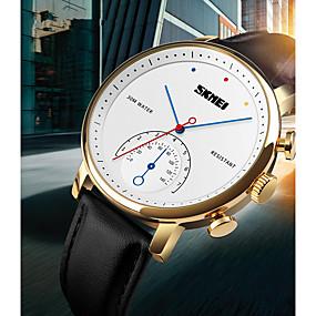 Недорогие Фирменные часы-SKMEI Муж. Жен. Наручные часы электронные часы Кварцевый Натуральная кожа Черный 30 m Защита от влаги Cool Аналоговый Дамы На каждый день Мода - Коричневый Черный и золотой Серебро / черный