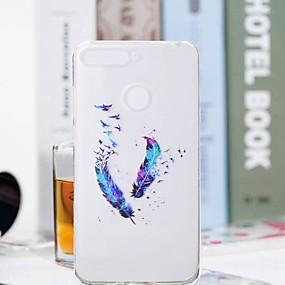 voordelige Huawei Honor hoesjes / covers-hoesje Voor Huawei Huawei Honor 10 / Honor 9 / Huawei Honor 9 Lite Transparant / Patroon Achterkant Veren Zacht TPU
